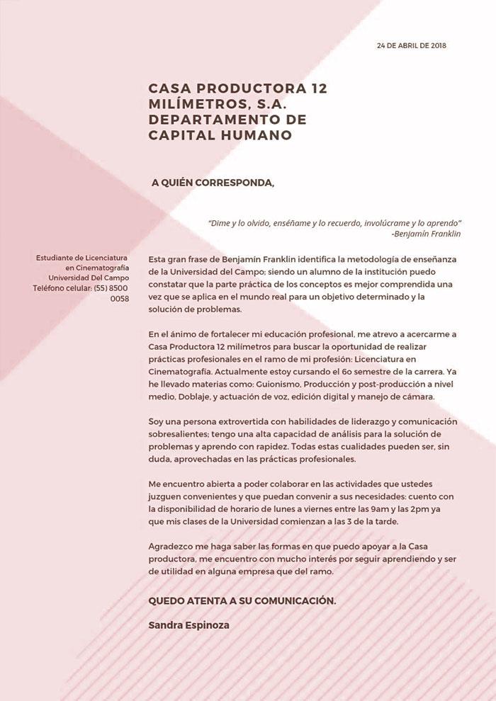 Carta de motivación para solicitar trabajo